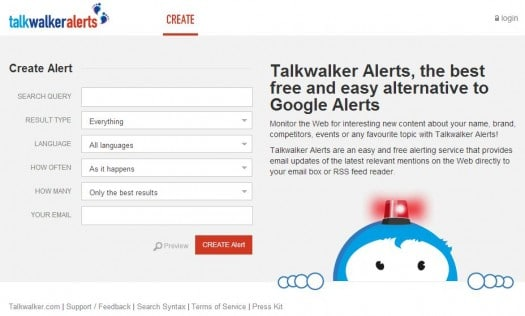 Une bonne alternative à Google Alerts, Talk Walker Alerts