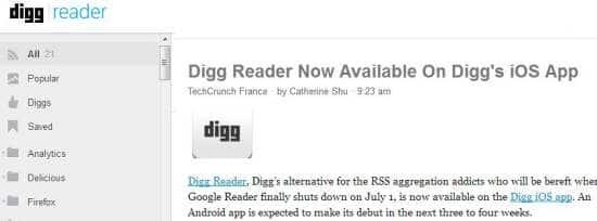 Mes premières impressions sur Digg Reader