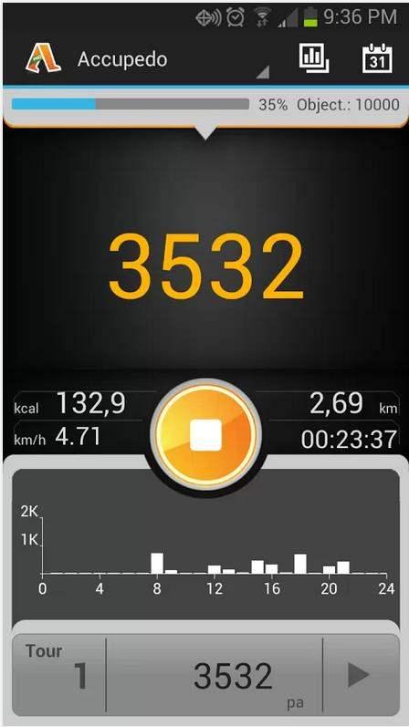 Un podomètre pour Android, Podomètre - Accupedo