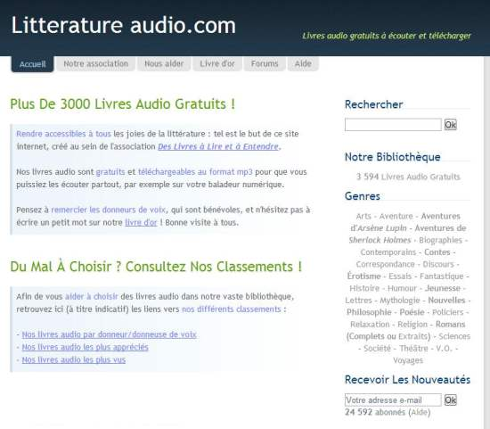 Plus de 3 000 livres audio gratuits, Litterature Audio