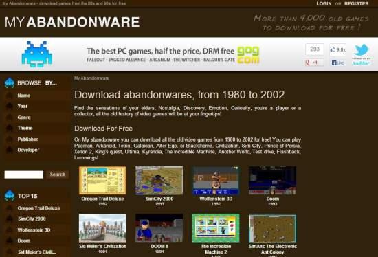 4000 abondonwares pour les vieux joueurs geeks