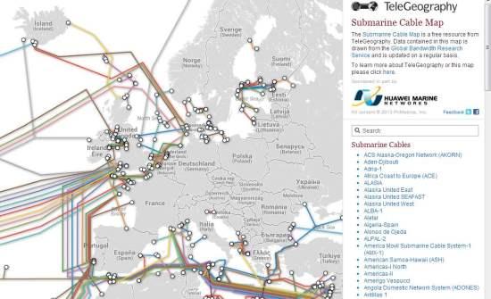 Une carte interactive des câbles sous-marins, Submarine Cable Map