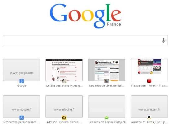 Remettre en place l'ancienne page Nouvel onglet de Chrome