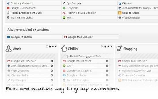 Organiser les extensions Chrome dans des groupes, Context