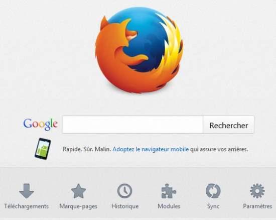 Comment régler l'accueil de Firefox en page Nouvel onglet