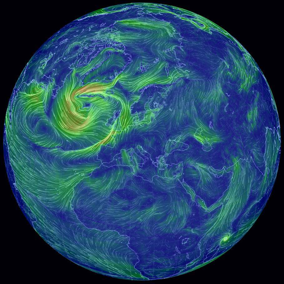 Les vents sur le globe, Earth Wind Map