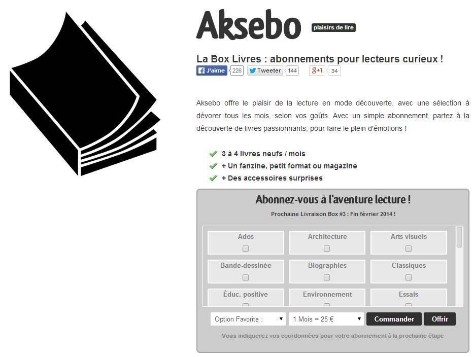 1 mois de lecture surprise à gagner, Aksebo