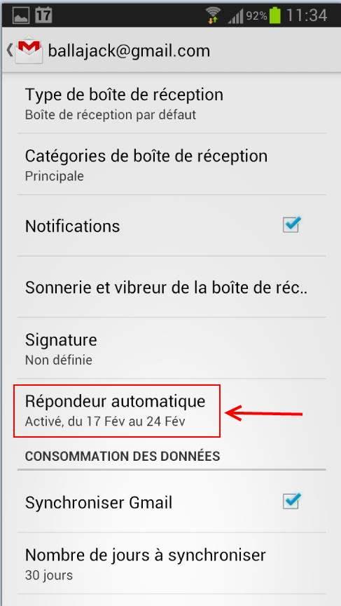 Un gestionnaire d'absence dans la version Android de Gmail
