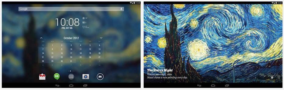 Des oeuvres d'art comme Live wallpaper pour Android, Muzei