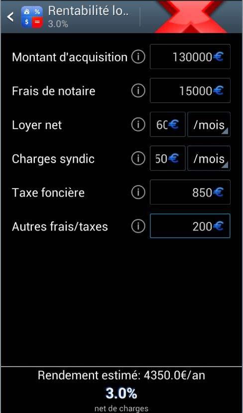 Une calculette de rentabilité locative pour Android