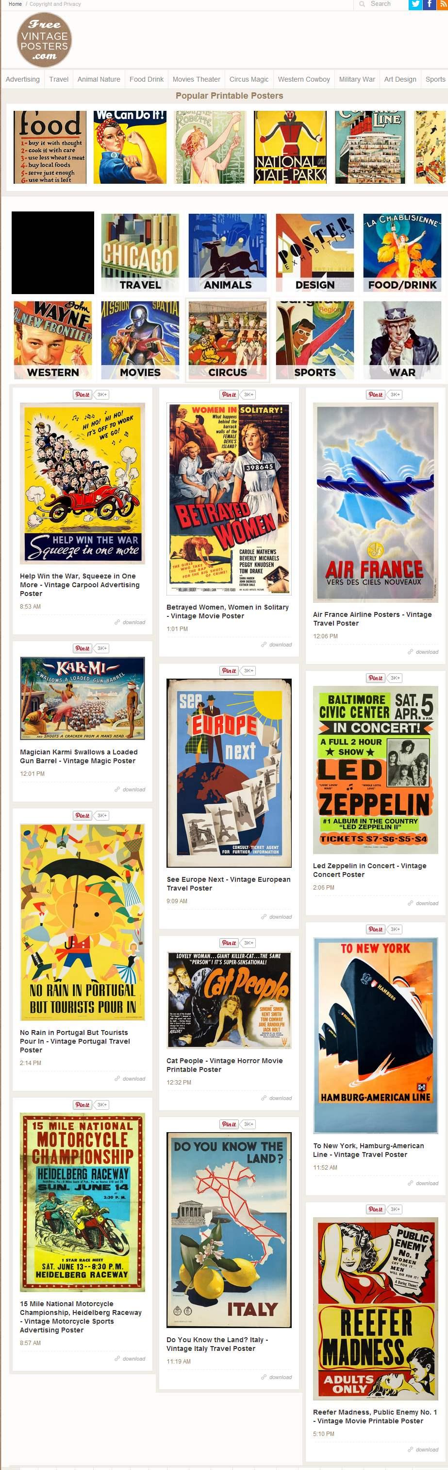 Un site d'affiches à télécharger, Free Vintage Posters