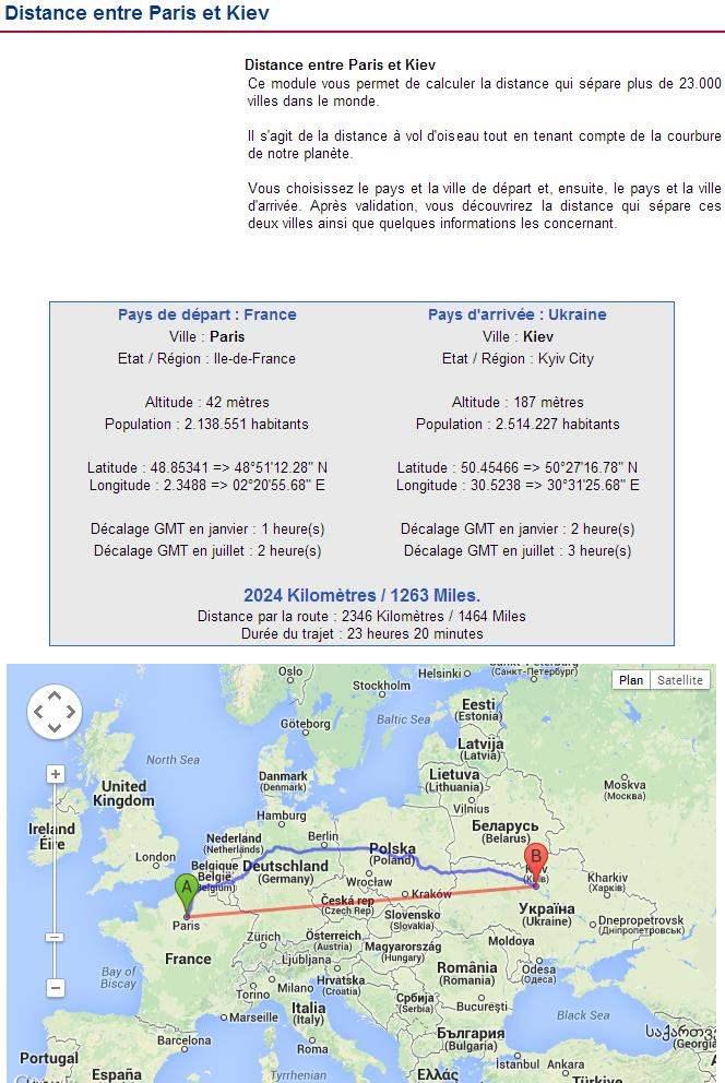 Distances Entre Deux Villes Carte