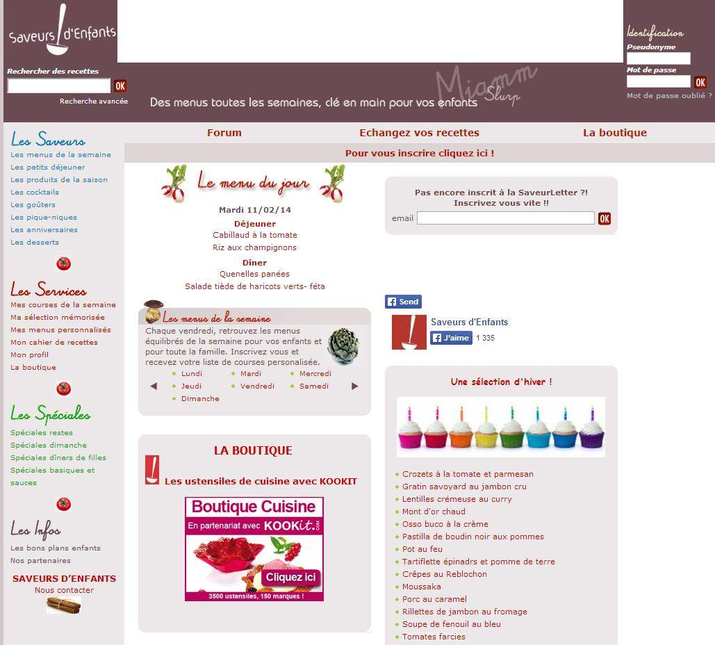 Des menus à la carte pour les enfants, Saveurs d'enfants