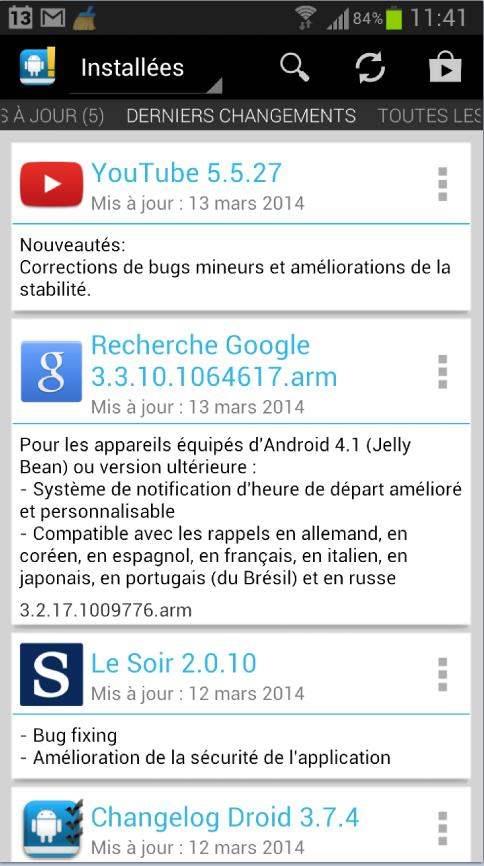 Suivi des mises à jour des applications Android
