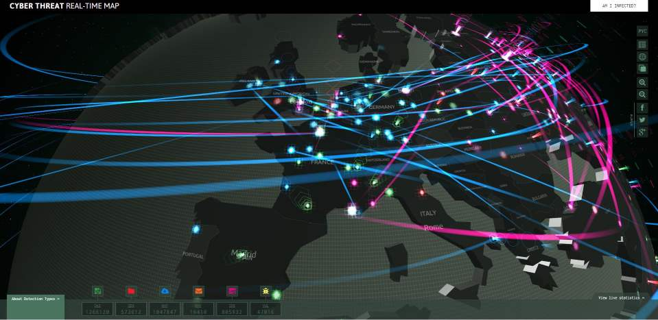 Carte des détections de virus par Kaspersky, Cyber Threat Real Time Map