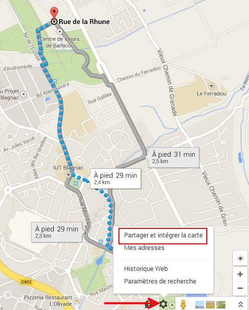 Partager ou intégrer une carte Google Maps