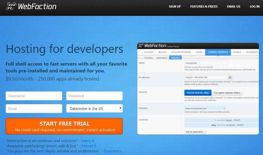 Un hébergeur pour les développeurs, WebFaction