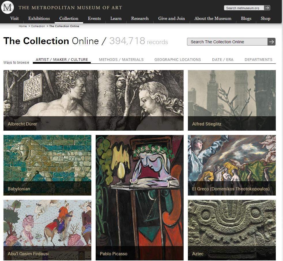 400 000 oeuvres d'art à l'écran, MET online