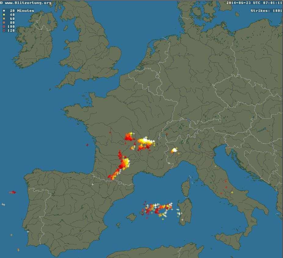 Suivi en temps réel des orages, Blitzortung et LightningMap