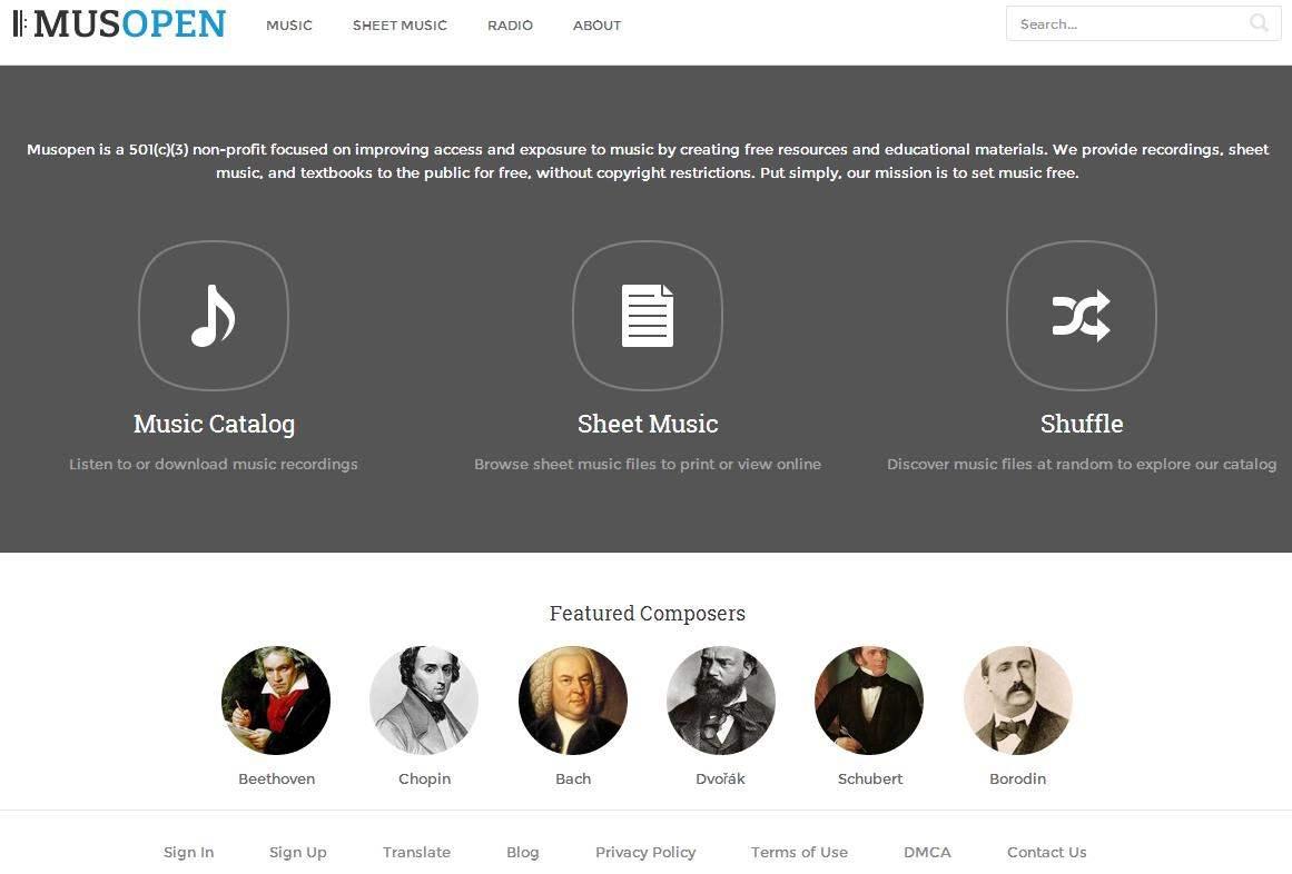 Ecouter de la musique classique en ligne, Musopen