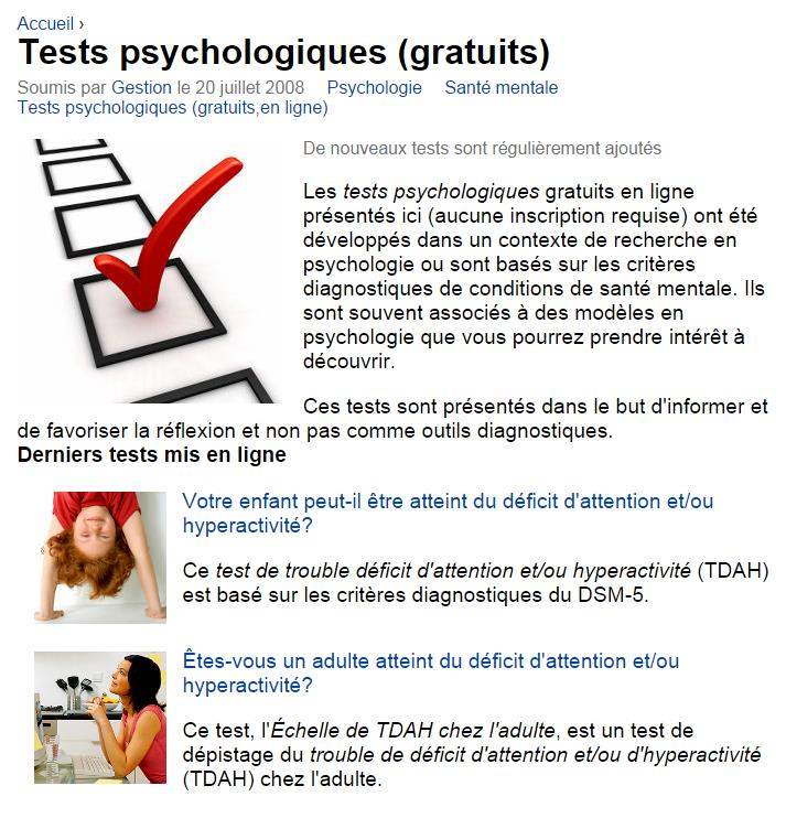 Une batterie de tests psychologiques gratuits, Psychomédia