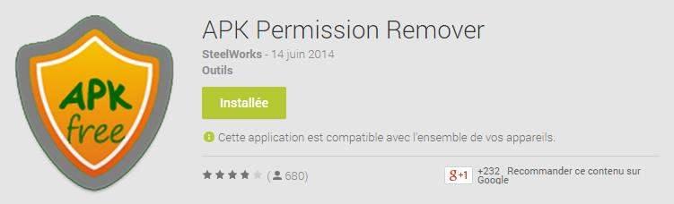 Supprimer des permissions sur des programmes Android