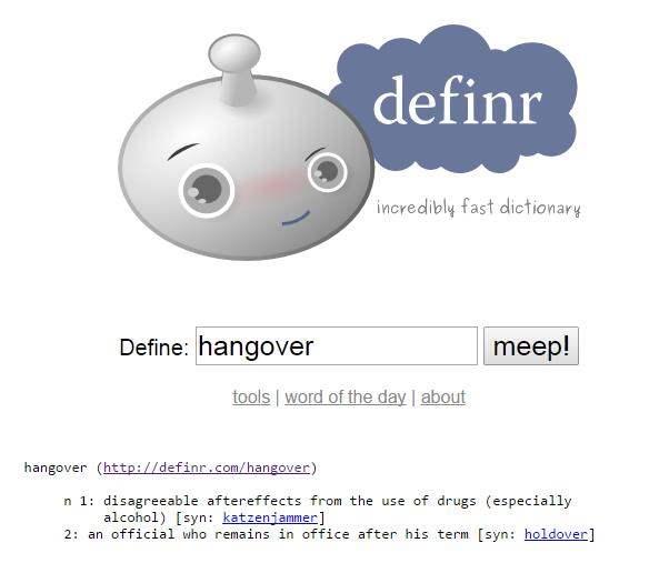 Un dico d'anglais en bookmarklet, Definr