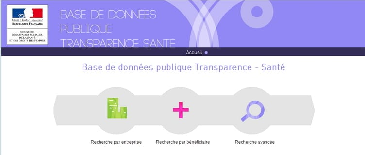Les données sur la transparence des professionnels de santé