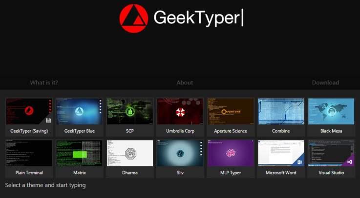 Faire semblant d'être un hacker, GeekTyper