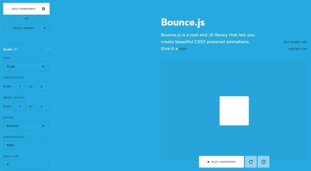 Créer facilement des animations en CSS3, Bounce.js