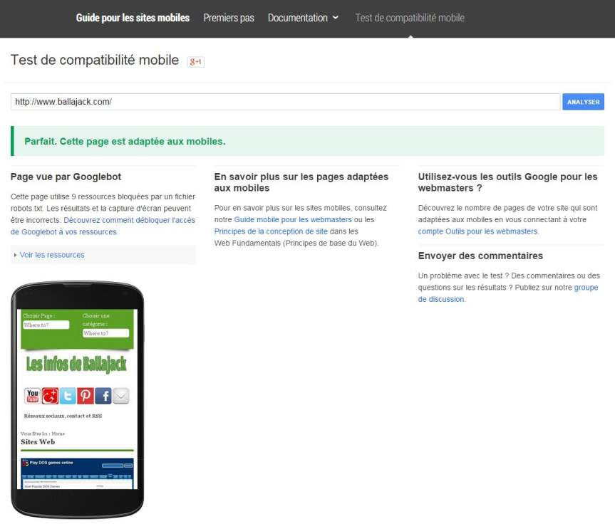 Le test de compatibilité mobile de Google