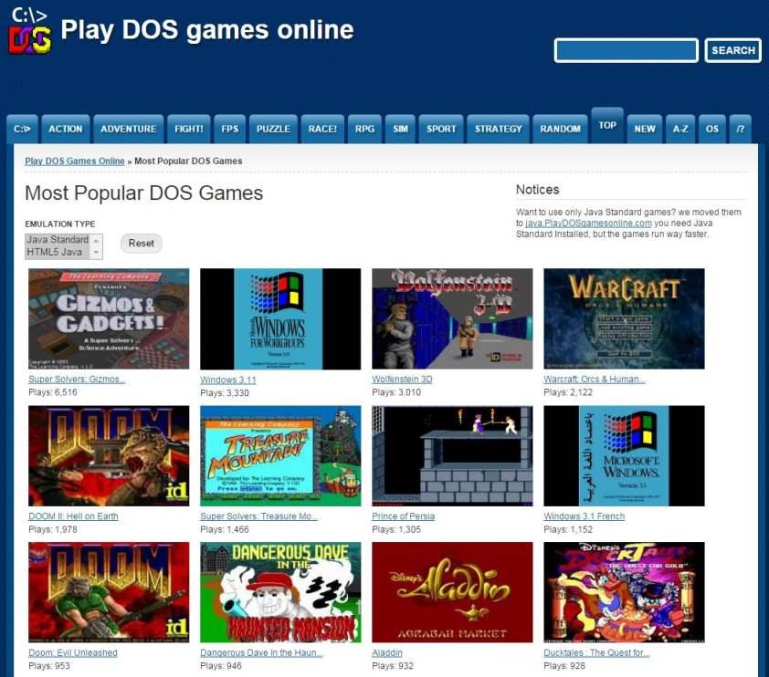5 sites Web pour jouer en ligne à des jeux classiques en DOS