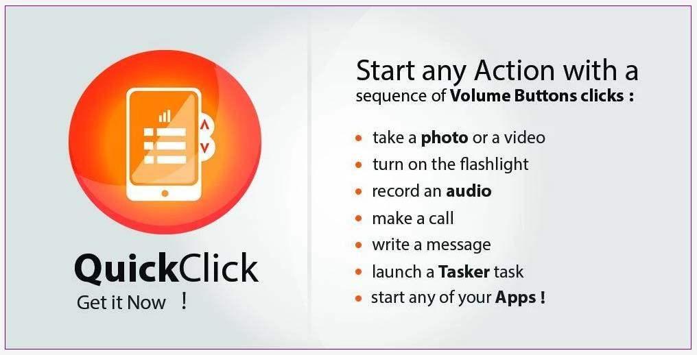 Déclenchement rapide d'actions sur Android, QuickClick