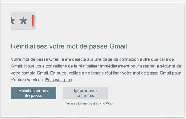 Se protéger des attaques de phishing, Alerte mot de passe