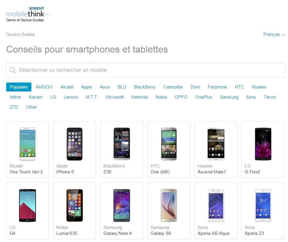 Spécifications, conseils pour smartphones et tablettes