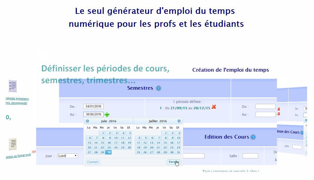 Création en ligne d'emplois du temps, Agendax