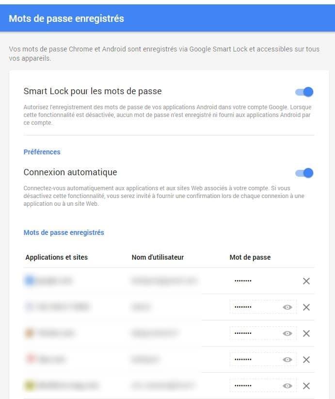 Comment connaître les mots de passe enregistrés par Google