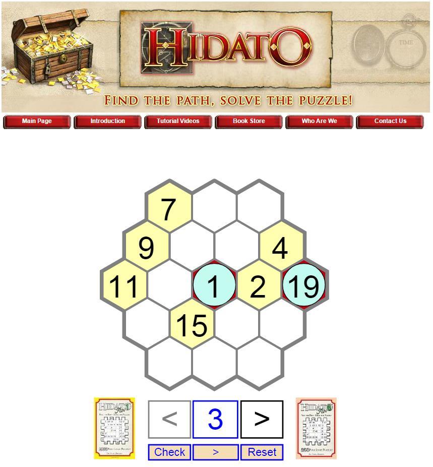 Jouer en ligne au Hidato