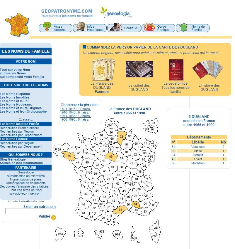 Répartition des noms de famille en France et dans le monde