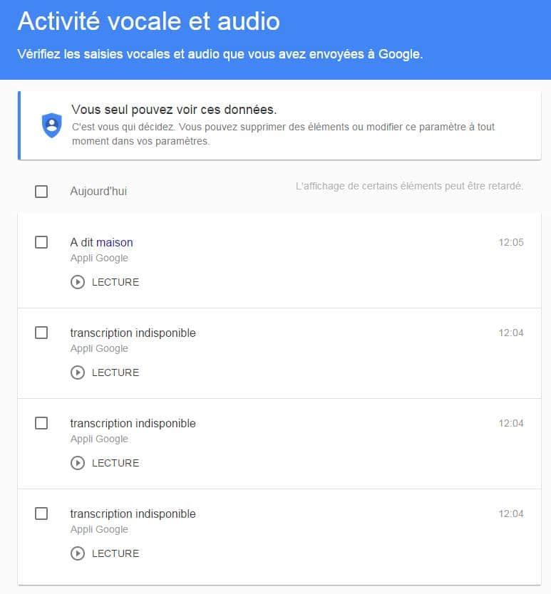 Ecouter et supprimer les phrases enregistrées par OK Google