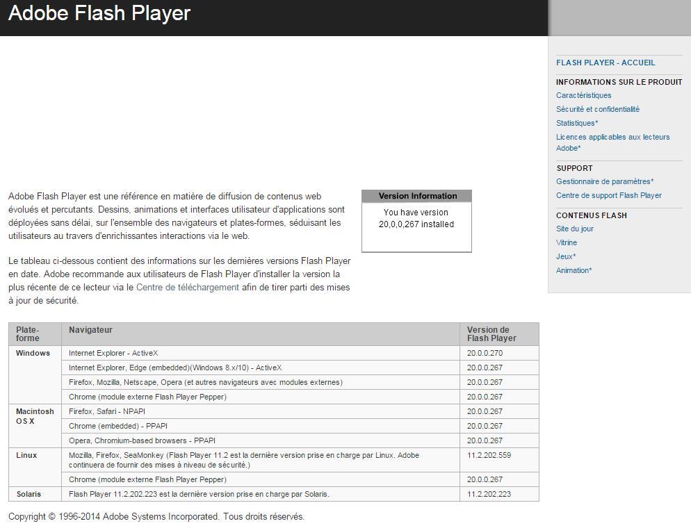 Comment déterminer quelle version de Flash est installée