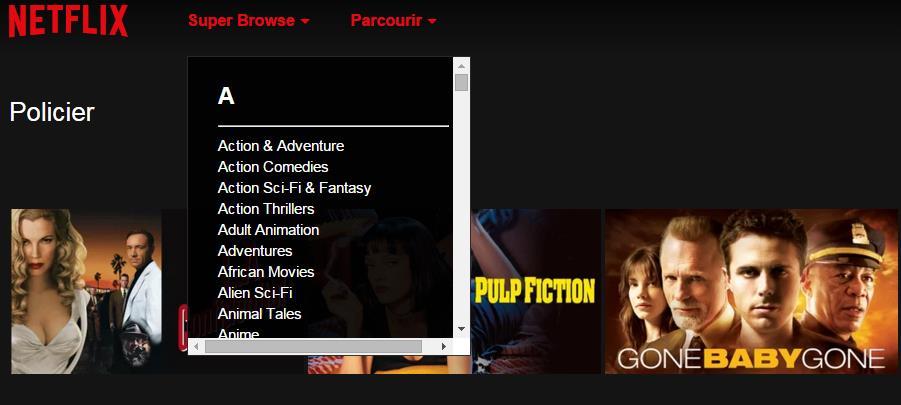 Accéder aux catégories cachées de Netflix, Super Browse