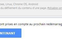 Désactiver le smooth scrolling sur le navigateur Chrome