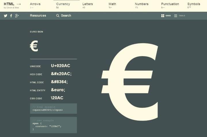 euro-html-arrows