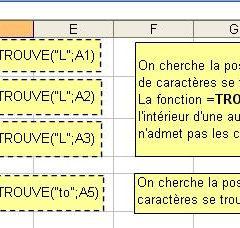 Position d'un caractère avec Excel - La fonction =TROUVE()